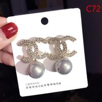 Wholesale black ear studs for men resale online - Brand Designer Double Letters Earrings Ear Studs Gold Silver Tone Earring For Women Men Wedding Party Jewelry Gift