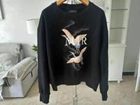sudadera con capucha sudadera con capucha al por mayor-2019 paris AMI Mens Designer Sweatshirt heron Estampado mangas cortas MIRI Mens Fashion Designer Sweatshirt Top con capucha zdlp75.