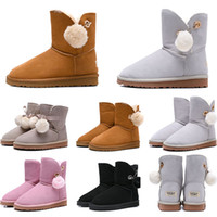 Wholesale girls size snow boots resale online - New women boots Australia Classic snow Boots WGG tall real leather Bailey Hairball girl winter desinger Keep warm size