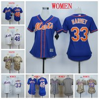ingrosso signore cami-New Jersey David Wright New York Lady Kid Kid Mets Matt Harvey Jacob deGrom Grey Blue Camo Maglie