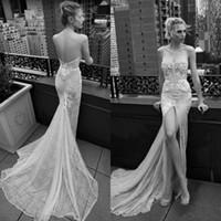 inbal drıre dantel düğün toptan satış-2019 Inbal Dror Mermaid Gelinlik Seksi Ön Bölünmüş Sweep Tren dantel 3D Çiçek Aplike Boncuk Plaj Düğün Kıyafeti Boho Gelin Elbise