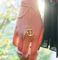 pulsera de anillo único al por mayor-Pulseras con dijes Pulsera de cadena con borla de ancla única Anillo de dedo Esclavo Arnés de mano Pulsera infinita