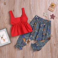 gilet rouge pour les filles achat en gros de-Vêtements d'été pour enfants 3-9Y filles Red Vest Tops + pantalon à larges jambes de Hallen imprimé 2 Piece Ensembles enfants designer vêtements filles JY411