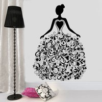 Wholesale bedroom wall art for girls resale online - Fashion Girl With Flora Pattern Dress Vinyl Sticker Wall Decal For Living Room Clothing Boutique Window Poster Murals
