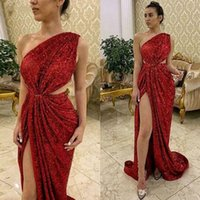 Wholesale dresses one piece for evening for sale - Group buy Sparkly Red Sequined High Thigh Split Evening Dresses Newest One Shoulder Cutaway Sides Prom Party Gowns For Women
