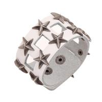 Wholesale vintage silver wide bracelets resale online - Fashion Punk Rock Wide Bracelet Cuff Silver Star Rivets Hollow Leather Charm Biker Bangle Wristbands Vintage Hippie Jewelry Gift