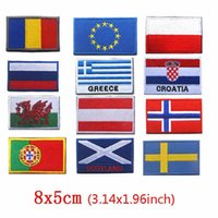 Wholesale patriotic clothes resale online - Prajna American Country Patriotic Flag Patches Europe Emblem Badge Hook Loop Army Embroidery World Flags Patch for Clothing D
