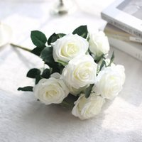 Wholesale fake rose bunch resale online - 10 Heads Artificial Rose Flowers Bunch Floral style Bouquet Fake Flower for Home Decoration Accessories Wedding Decor