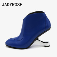Wholesale botines fashion mujer for sale - Group buy Blue Leather Women Ankle Boots Fashion Red Autumn Wedding Shoes cm Strange High Heels Short Botas Femmes Black Botines Mujer