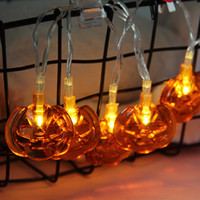 12v parti ışıkları dize ışıkları toptan satış-1.5 M / 2.5 M / 5 M Cadılar Bayramı Kabak LED Dize Işıklar Bahçe Ev Partisi Dekorasyon Tatil Dize Işık Cadılar Bayramı Işıkları