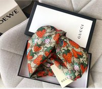 Wholesale beachwear style resale online - Designer Silk Turban Headband hair bands for Women Summer New Itay Brand strawberry style Full G logo headbands Head Scarf Dropshipping