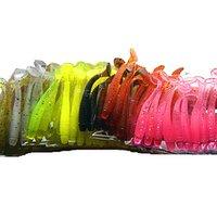 balık jig balıkçılık cazibesi toptan satış-10 renkler 100 adet / grup 5 cm 0.7g Yumuşak Kauçuk Balıkçılık Bait Lures Jig Wobbler Yumuşak Solucan Sazan Balıkçılık Bait Yapay Silikon Swimbait