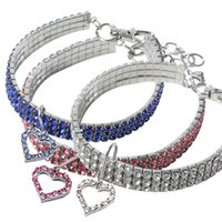 Wholesale small dog collar size for sale - Group buy Rhinestones Cat Dog Necklace With Heart Shaped Pendant Pet Collar Fashion Pets Neck Chains S M L Size cz E1