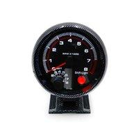 gösterge parantezleri toptan satış-Parantez Oto Araç Meter Montaj Shift Işık ile Takometre 3.75inch 80mm Yarışı Araba 0-8000 RPM Karbon Elyaf RPM Ölçer