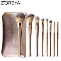 zoreya make-up großhandel-Zoreya Marke 8 stücke Rose Gold Make-Up Pinsel Meerjungfrau Kunsthaar Kosmetik Set Concealer Puder Blending Lidschatten Makeup Tools SH190719