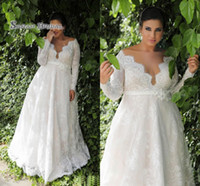 Wholesale inverted triangle wedding dresses for sale - Group buy Vintage Plus Size Wedding Dresses Lace V Neck A Line Bridal Dress Long Sleeves Bride Party Gowns