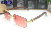 marca óculos de sol venda por atacado-2019 Famosa Marca Homens Óculos Sem Aro Branco De Bambu De Madeira Pernas Búfalo Chifre Natural Óculos De Sol occhiali lunettes de soleil de marque