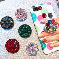 suporte de anel de cristal venda por atacado-Titular do telefone móvel de diamante de cristal anel de dedo redondo suporte de gasbag extensível airbag suporte de montagem para iphone x xs xr 8 7 6 s