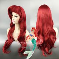 uzun kırmızı dalgalı saç toptan satış-EPacket ücretsiz kargo Küçük Denizkızı Ariel 70 cm Uzun Kırmızı Kıvırcık Dalgalı Saç Cosplay Peruk