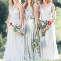Wholesale new style dress making online - 2019 New Style Elegant Silver Chiffon Bridesmaid Dress Mixed Style Country Garden Maid of Honor Wedding Guest Gowns BM0662