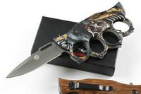 melhor canivete para presente venda por atacado-X71 Knuckle Duster Tactical Folding Faca de Titânio Chapeamento Rápido Aberto Acampamento Ao Ar Livre Caça Survival Bolso Resgate Ferramentas EDC Melhor Presente