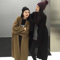 casacos de mulheres de moda de inverno coreano venda por atacado-Mulheres Winter Moda de Nova Pescoço V malha Brasão Sweater Cardigan por Mulheres Sólidos Casual Vestuário coreano Sisters