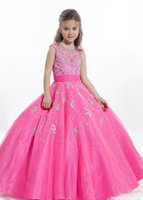 Wholesale beauty pageant gown red resale online - Custom Made Beauty Little Girls Glitz Pageant Dresses Ball Gown Jewel Beads Applique Blue And Fuchsia Floor Length Kids Flower Girl Dresses