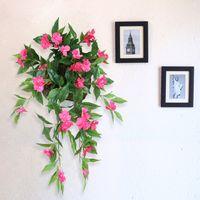 impatiens çiçek toptan satış-70 Cm Uzun Yapay Sahte Çiçek Vine DIY Düğün Dekor Çiçek Sepeti Rattan Impatiens Demet Duvar Asılı Chlorophytum Çiçek