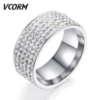 a288100e1cc7 Vcorm mujeres hombres anillos de boda para mujeres hombres moda acero  titanio 5 filas cristal compromiso oro plata señora hombre anillo joyería