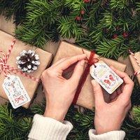 ingrosso tag unici-50pcs / lot Buon Natale Etichette regalo uniche fai-da-te JOY TO WORLD Tag Small Card Corda opzionale Etichetta artigianale fai-da-te Decor per feste