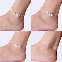 fußschmuck zum verkauf großhandel-2018 neue Fußschmuck Fußkettchen Heißer Verkauf Silber Fußkettchen Gliederkette Für Frauen Mädchen Fuß Armbänder Modeschmuck Großhandel Freies Verschiffen