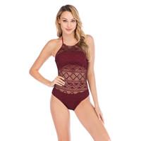 amerikanischer sexy heißer bikini großhandel-Amerikanische und europäische Badebekleidung neue Bikini Frauen einteilige einfarbige Ausschnitt sexy Badebekleidung Quickpass Amazon wünschen heißen Stil