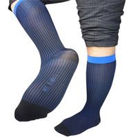 medias de nylon calcetines al por mayor-Nuevos calcetines de alta calidad para los hombres de seda de nylon transparentes sexy gay vestido formal traje calcetines masculinos negocio rayado hombre medias de manguera