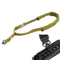 taktik naylon askı toptan satış-Taktik Bir 1 Nokta Sling Ayarlanabilir Naylon QD döner Bungee Sling Tüfek Kamera Tabancası ve Açık Avcılık Gun Aksesuarları