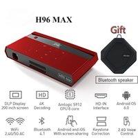 wifi button großhandel-H96 MAX Tragbarer Projektor DLP Full HD 4K WIFI 5G Android 6.0 S912 2 + 16G Touch-Taste Sprachfernbedienung 200 Zoll HomeTheater