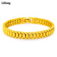 quadratische armbänder großhandel-Herren und Damen Hip Hop Style Armband 24k Gold Farbe quadratisch Armband Link Fashion Punk Schmuck Geschenk