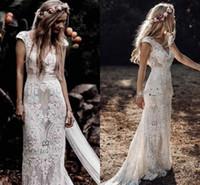 algodão rendas vestidos de noiva venda por atacado-New Vintage Bohemian Vestidos De Noiva com Mangas 2019 Hppie Crochet Algodão Rendas Boho País Sereia Vestidos de Noiva