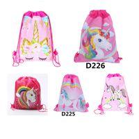 renkli çocuklar sırt çantaları toptan satış-Renkli 34 * 27 cm Unicorn İpli Sırt Çantası Kız Prenses Çocuk Tema Parti Sırt Çantası Şeker Çantaları Okul sırt çantası Çocuk erkek kız seyahat çantası