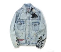 herren jacken rock groihandel-Mens Graffiti Denim Jacken Streetwear Modedesigner Hip Hop Lässige Patchwork Riss Distressed Punk Rock Jeans Mäntel
