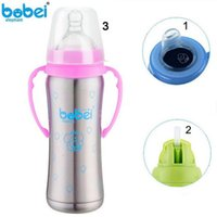 Wholesale Baby Feeding Bottle Stainless Steel Thermos Handle Nipple Straw Insulation Cup in Baby Nursing Bottle Winter For Newborn