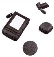 deri cüzdan etrafında fermuarlı toptan satış-FAROOT Yeni Hakiki Deri Erkek Fermuar Zip-Around Dış KIMLIK Bifold Cüzdan Çanta