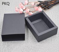 caixas de armazenamento de papel preto venda por atacado-Snacks elegantes em branco do chocolate preto Biscoito Paper Gift Box Kraft Macaron embalagem dos doces Doce Caixas de armazenamento para o sabão Packing
