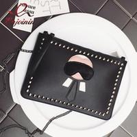 ingrosso sacchetti di buste di progettazione-Nuovo disegno del fumetto di moda personalizzata Lafayette rivetti busta borsa frizione borse borsa a tracolla casual nero argento