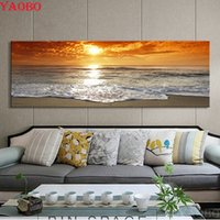 Wholesale large seascape paintings for sale - Group buy Large Diy Diamond Painting Seascape Sunrise Diamond Embroidery sale D Full resin Square round Mosaic diamond Picture home decor