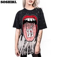ingrosso ragazze maglie lunghe allentate-Soshirl Big Mouth Punk T-Shirt da donna / da uomo Summer Letter Top Pentagramma / clown Darkness Girls Tee Shirt Harajuku Long Loose Tee Y19042501