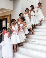 Wholesale short black dreses for sale - Group buy 2020 Cheap Short Junior A Line Bridesmaid Dreses Knee Length Stain With Beads Simple Black Girls Wedding Guest Dresses Custom Made