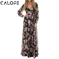 vestido maxi verano manga larga al por mayor-Calofe Plus Size 3xl gasa túnica vestido de verano de manga larga Boho Beach Party Dress Casual Estampado floral Maxi vestido largo T4190605