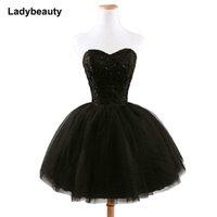 ingrosso pizzo nero maxi-Nuovo arrivo elegante breve Lace Up Princess Sweetheart che borda le donne di modo nero vestito da promenade SH190708