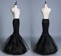 crinolina de tul negro al por mayor-cpa1197 nuevos vestidos de boda de la sirena del negro Mujer Enaguas 1 aro de dos capas de tul enaguas de boda Accesorios crinolina barato