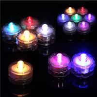 ingrosso le luci di natale accese-Lume di candela LED sommergibile impermeabile luci del tè potenza della batteria Decorazione candela festa di nozze di Natale Luce di decorazione di alta qualità